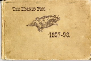 The 1898 yearbook, called the Horned Frog, featured a picture of a horned lizard on the cover