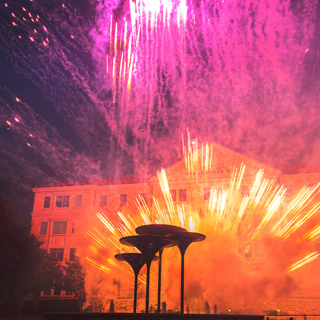 Fireworks fill the sky over TCU Frog Fountain