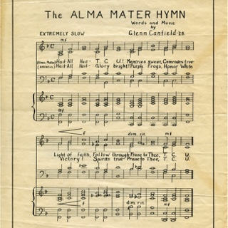 The yellowed manuscript of handwritten sheet music of the TCU Alma Mater Hymn, attributed to Glenn Canfield, 1928.