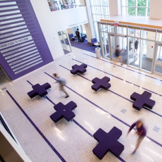 The lobby of TCU's Rees-Jones Hall features purple modular furnishings
