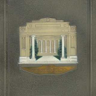 Cover of a TCU yearbook featuring an embossed illustration of a campus building and the words The Horned Frog and 1926.