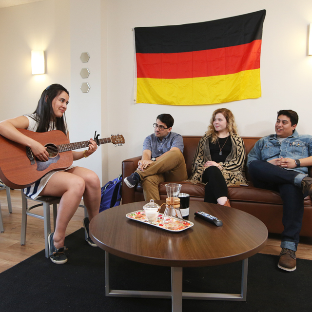Students living in TCU's German House dorm