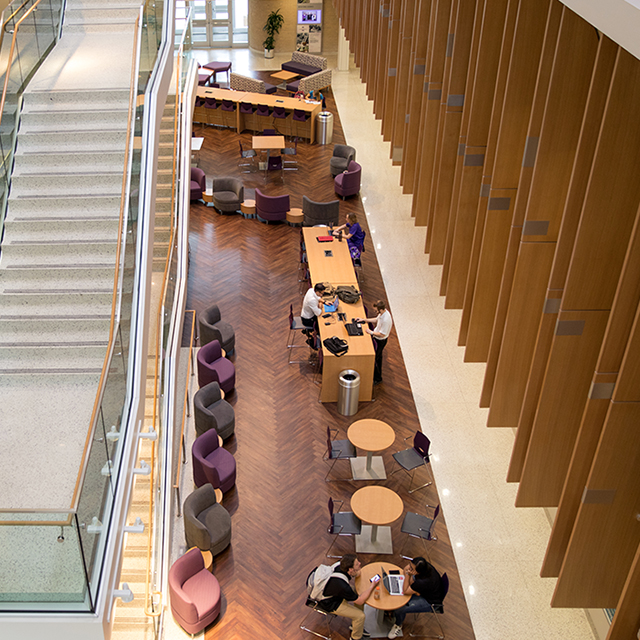 Overhead view of Harris College of Nursing & Health Sciences lobby