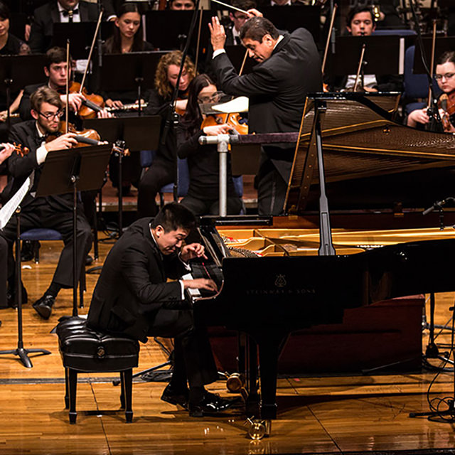 Pianist Gang Tian in the 2016 Concerto competition